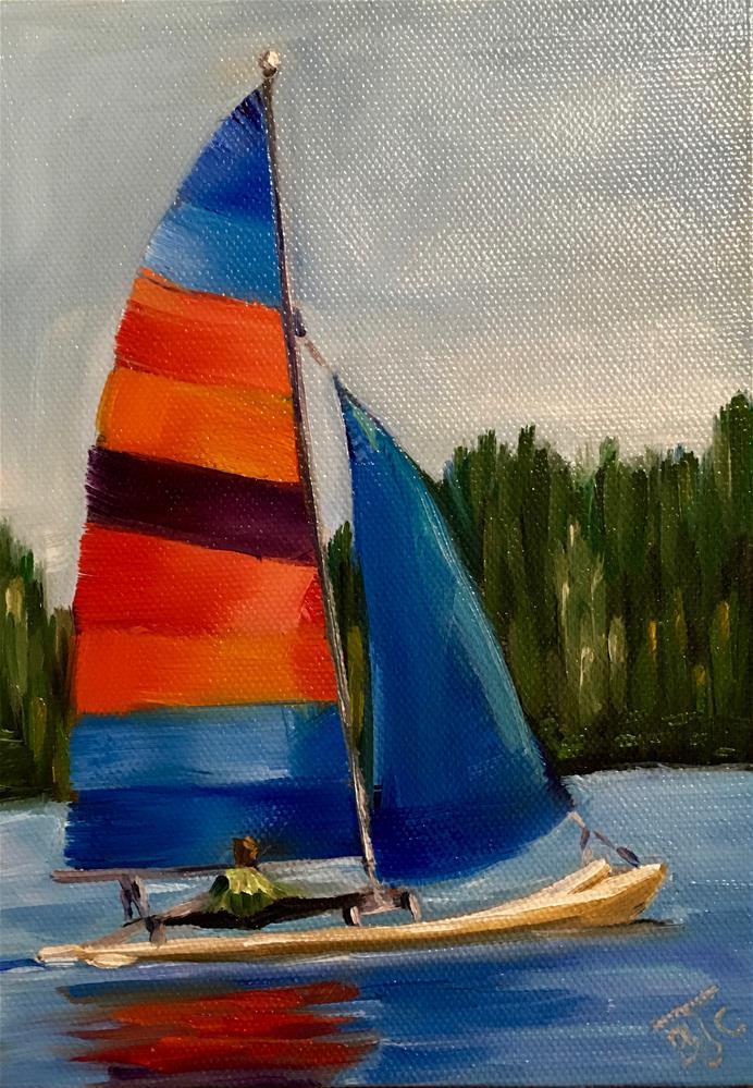 """Big Lake Sail Club"" original fine art by Bobbie Cook"