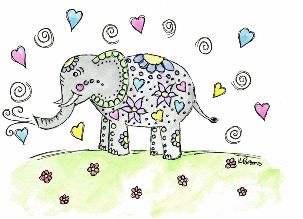 """Whimsy Elephant"" original fine art by Kali Parsons"