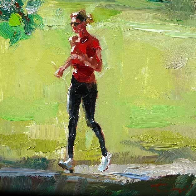 """""""Joggende"""" original fine art by Jurij Frey"""