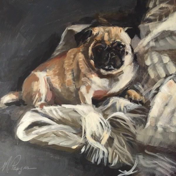 """""""Pug Nest"""" original fine art by Mary Pargas"""