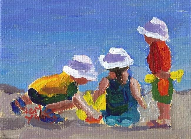 """928 Beach kids, 2.5x3.5, oil on board"" original fine art by Darlene Young"