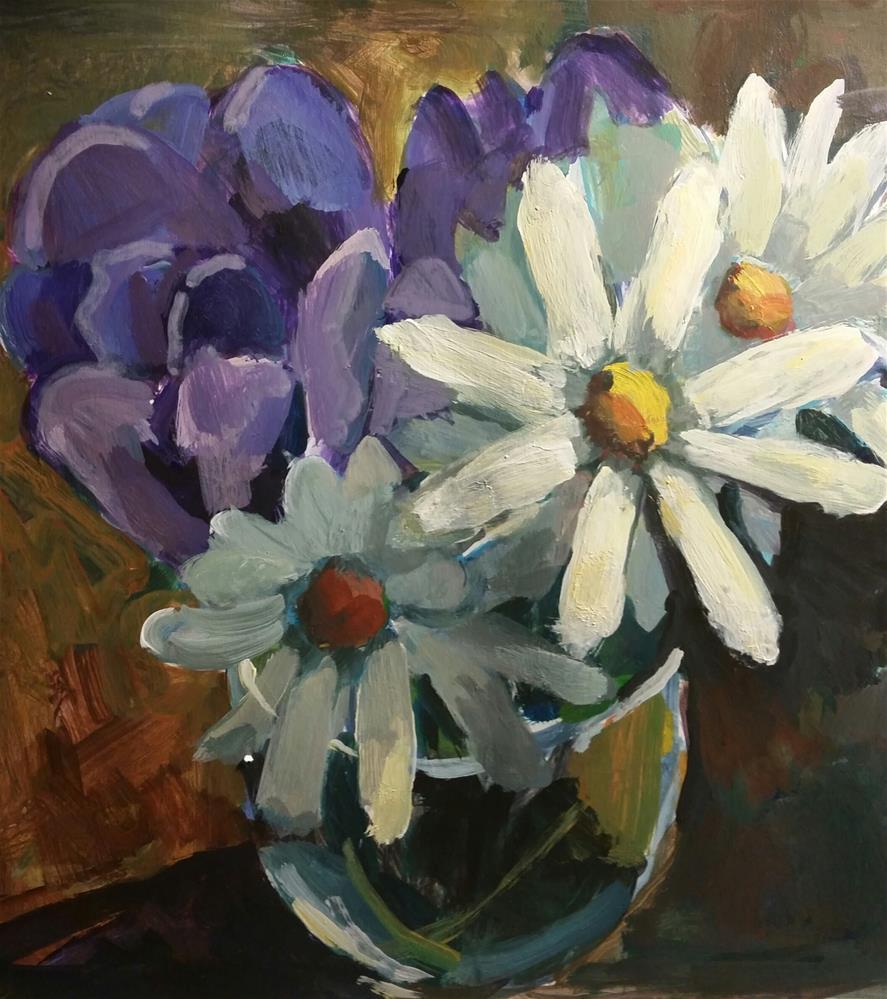 """Tulip and Daisies United"" original fine art by Liz Maynes"