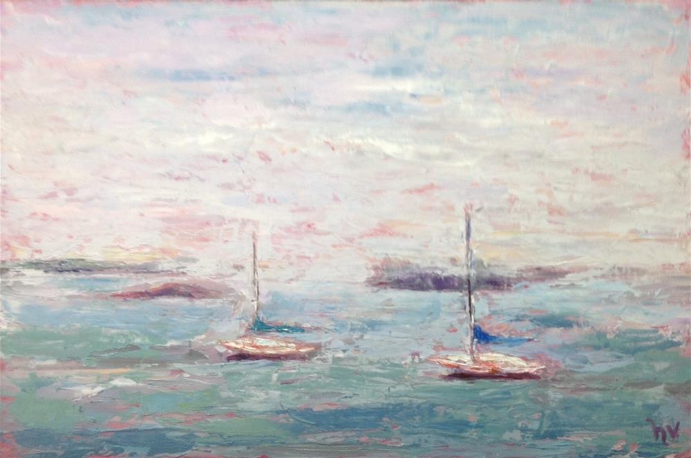 """""""Lubec-Two Boats in Fog"""" original fine art by Helen Viebrock Hamel"""