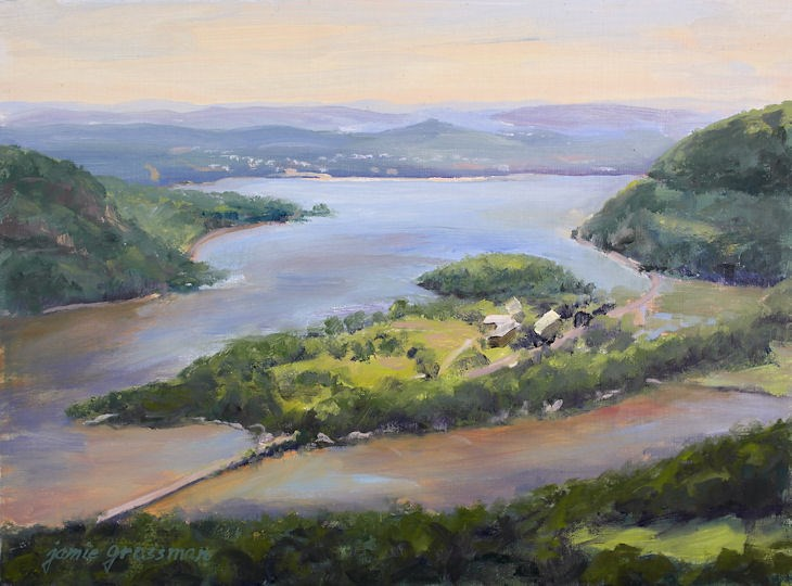 """Iona Island from Bear Mountain — Hudson River oil painting"" original fine art by Jamie Williams Grossman"