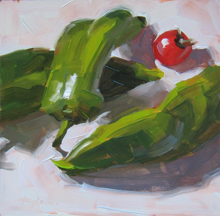 """""""Cherry Tomato and Peppers"""" original fine art by Katia Kyte"""