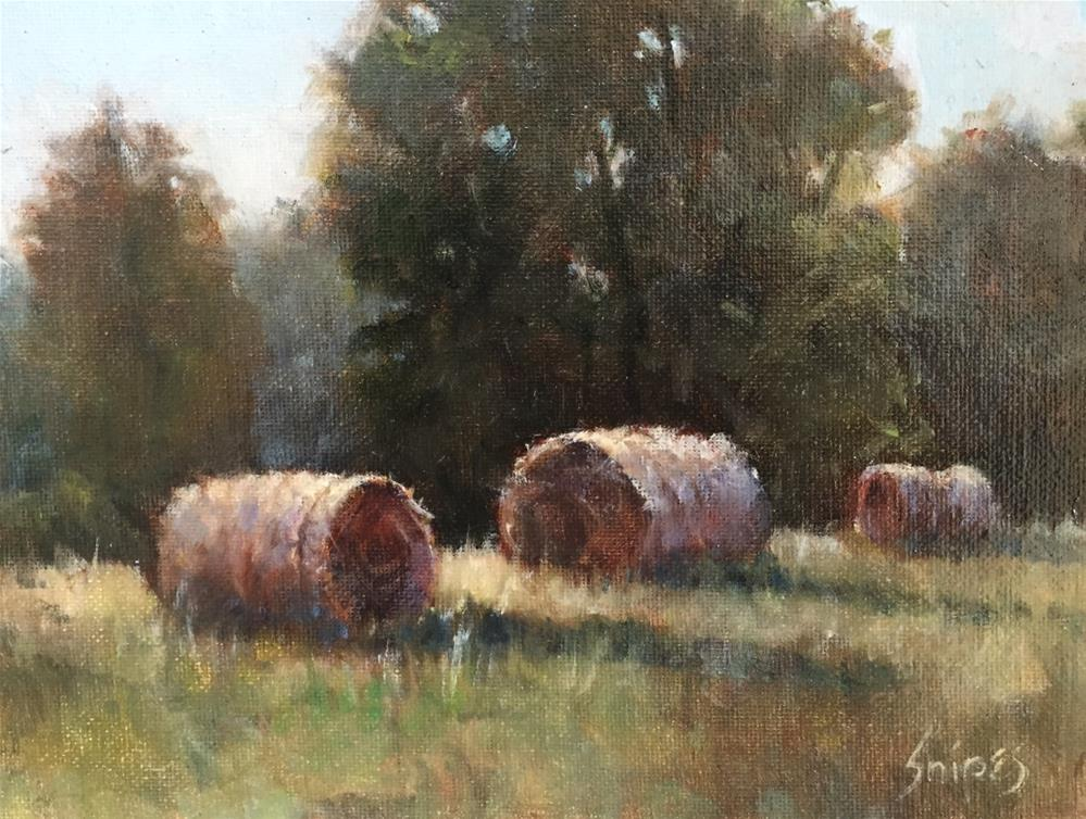 """Hay Bales in the Field"" original fine art by Connie Snipes"