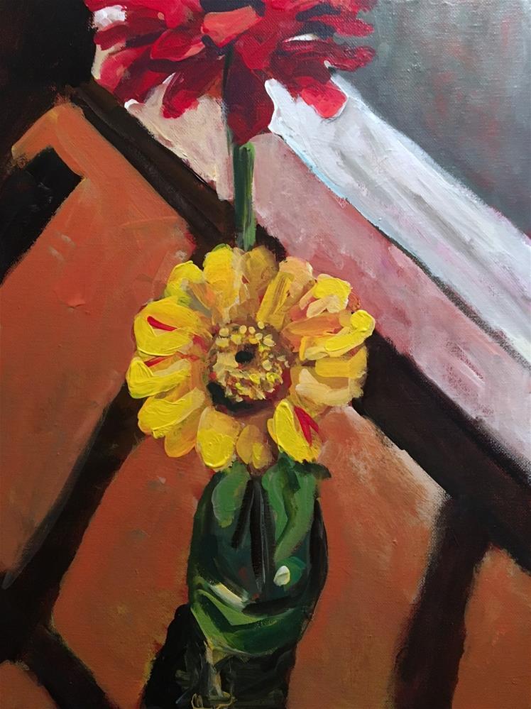 """Zinnias"" original fine art by Susan Elizabeth Jones"