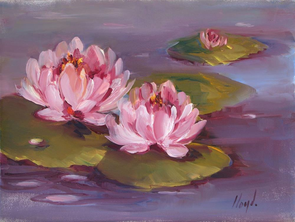 """Lotus Blossoms"" original fine art by Diane Lloyd"