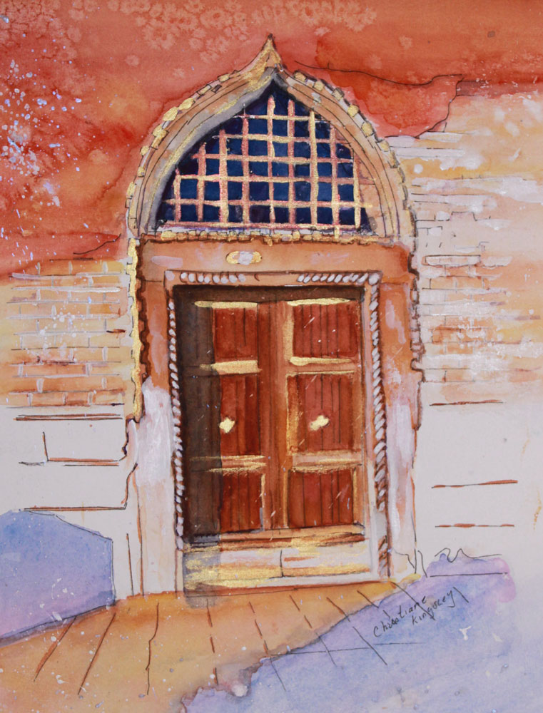 """Golden Venetian Door"" original fine art by Christiane Kingsley"