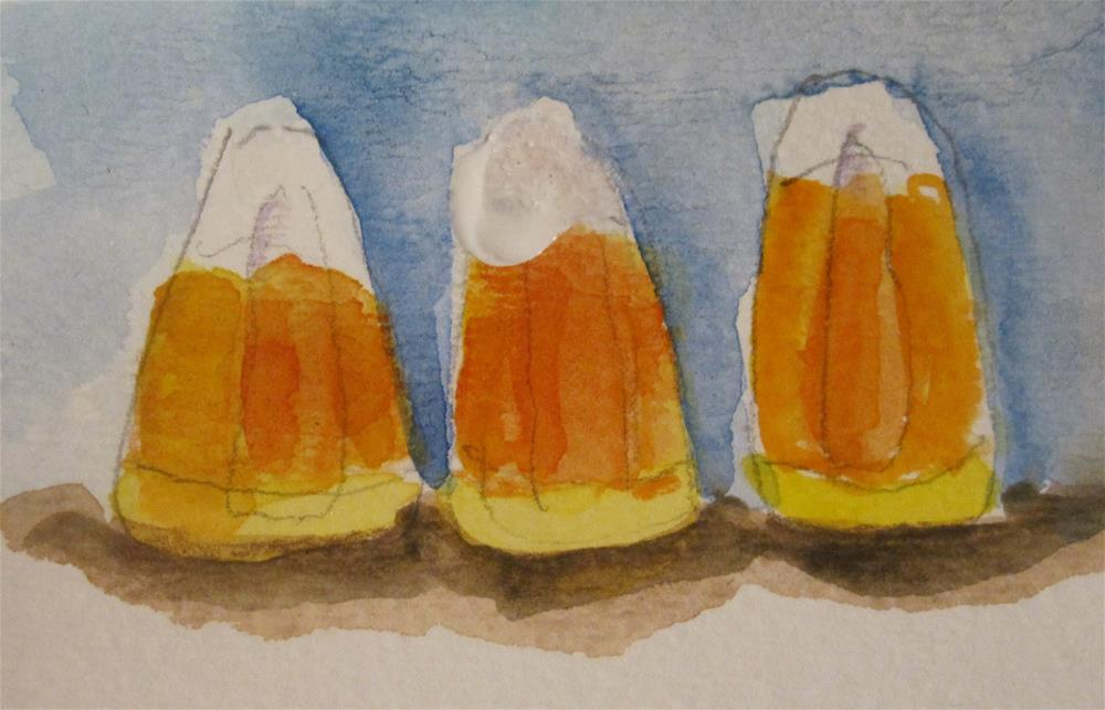 """""""Candy Corn Aceo"""" original fine art by Delilah Smith"""