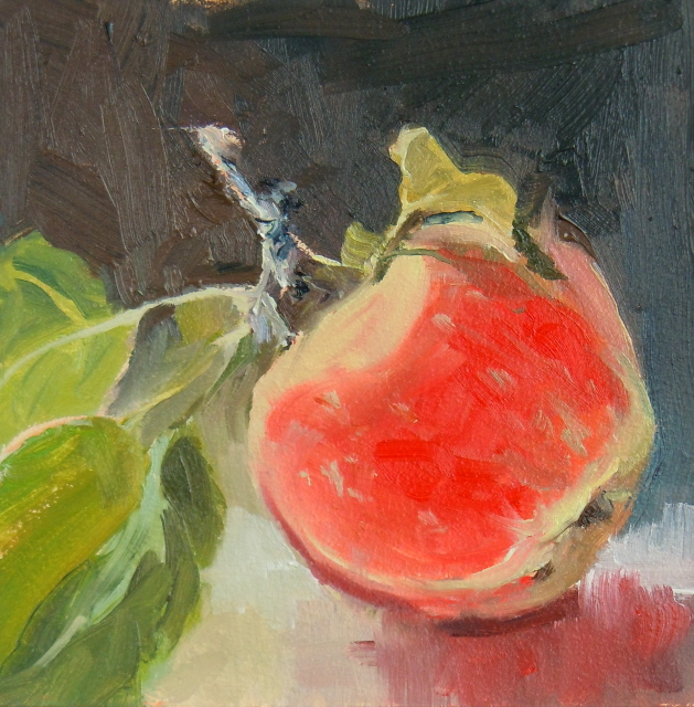 """Rose Apple  fruit painting, from life"" original fine art by Robin Weiss"