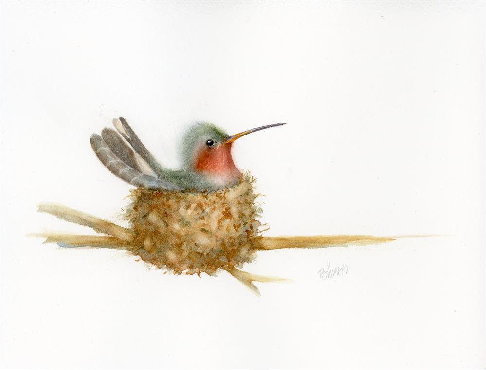 """Hummingbird on Nest Study II"" original fine art by Susanne Billings"