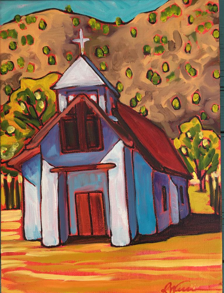 """""""church in Pilar (small)"""" original fine art by Robyn Wellman"""