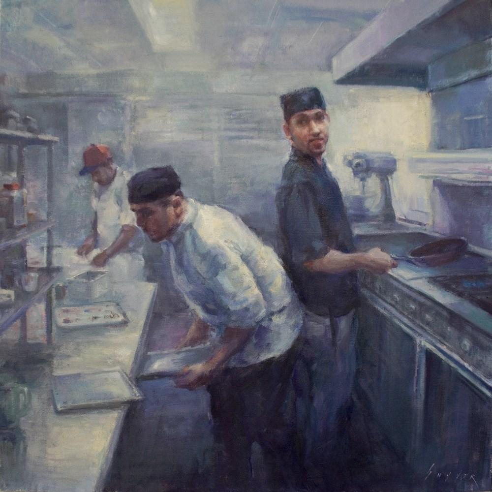"""""""Blinn House Kitchen Chefs"""" original fine art by Julie Snyder"""