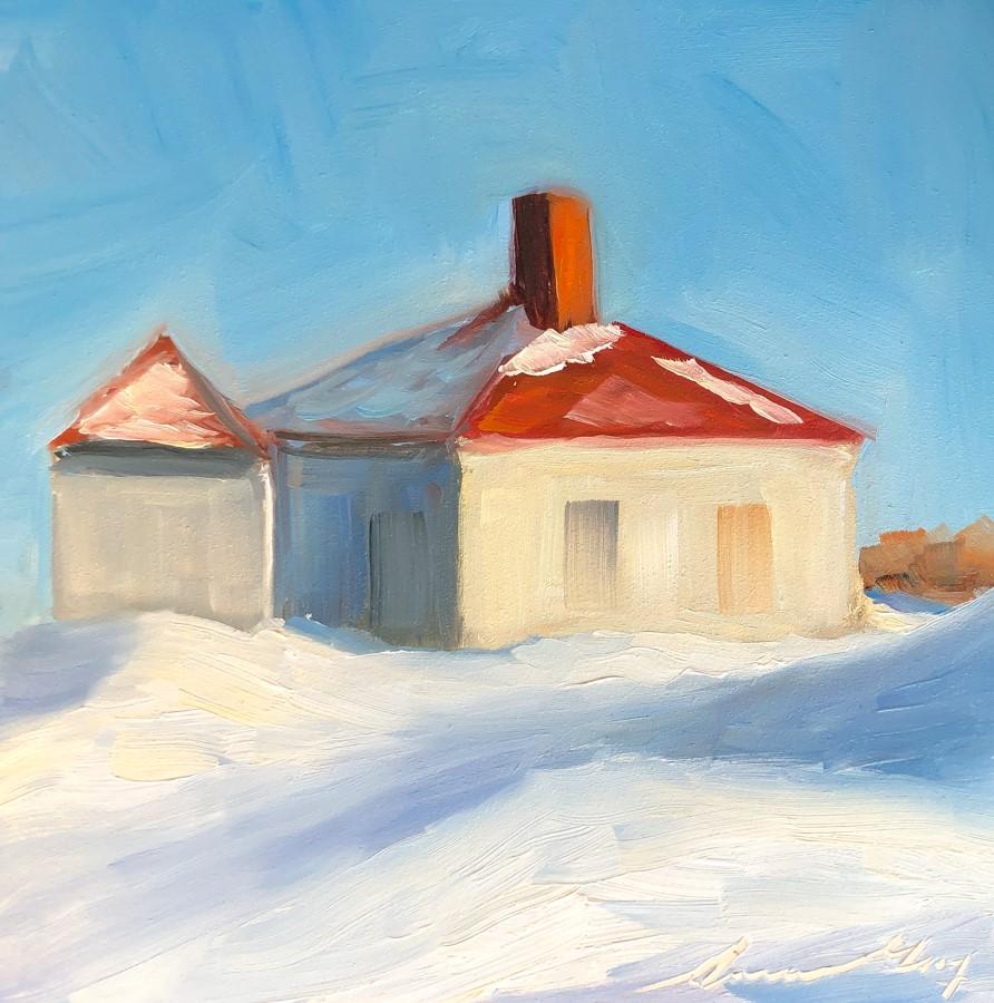 """#199 - Fog Horn Building - Dyer Point-Cape Elizabe"" original fine art by Sara Gray"