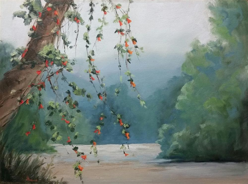 """""""Trumpets on the Missouri-en plein air"""" original fine art by Veronica Brown"""