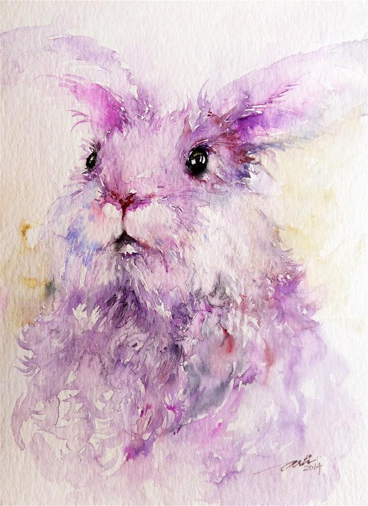 """Angora Rabbit Animal Art"" original fine art by Arti Chauhan"