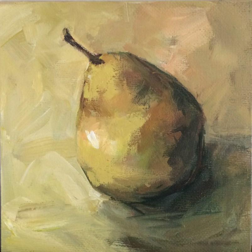"""Single Pear No. 4"" original fine art by Shannon Bauer"