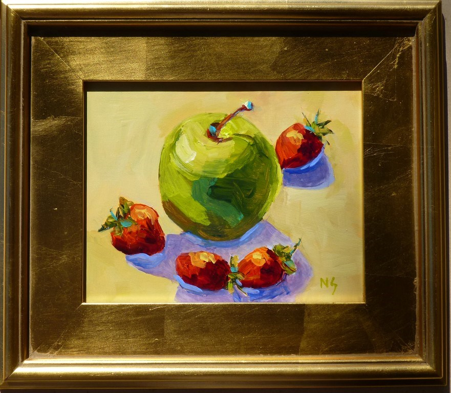 """Green Apple and Strawberries 14073"" original fine art by Nancy Standlee"
