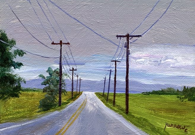 """ORIGINAL PAINTING OF UTILITY POLES ALONG A TYPICAL ROAD"" original fine art by Sue Furrow"