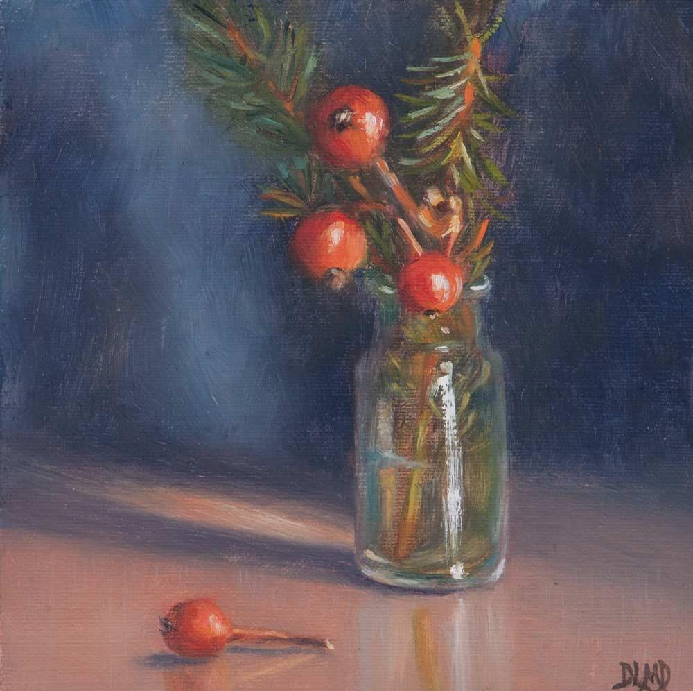 """""""Winter Offerings"""" original fine art by Debbie Lamey-Macdonald"""