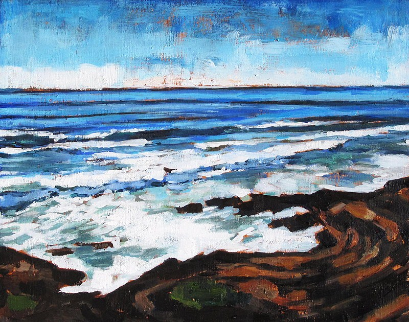 """""""Waves on the Rocks, Cabrillo"""" original fine art by Kevin Inman"""