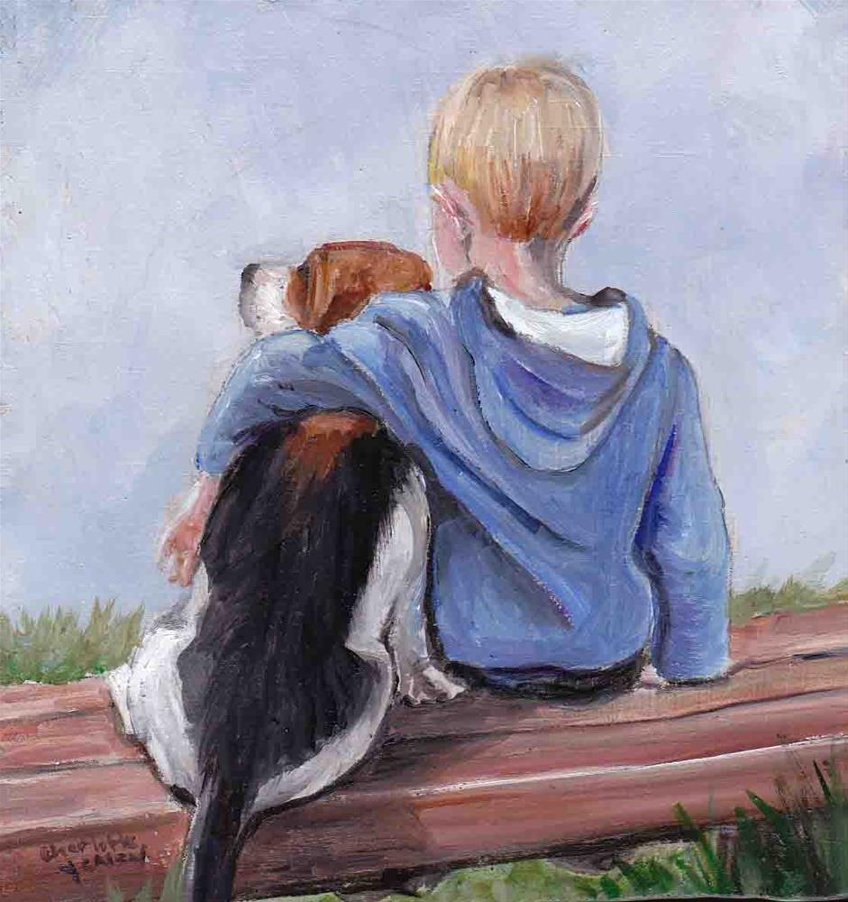 """""""Boy and his Beagle"""" original fine art by Charlotte Yealey"""