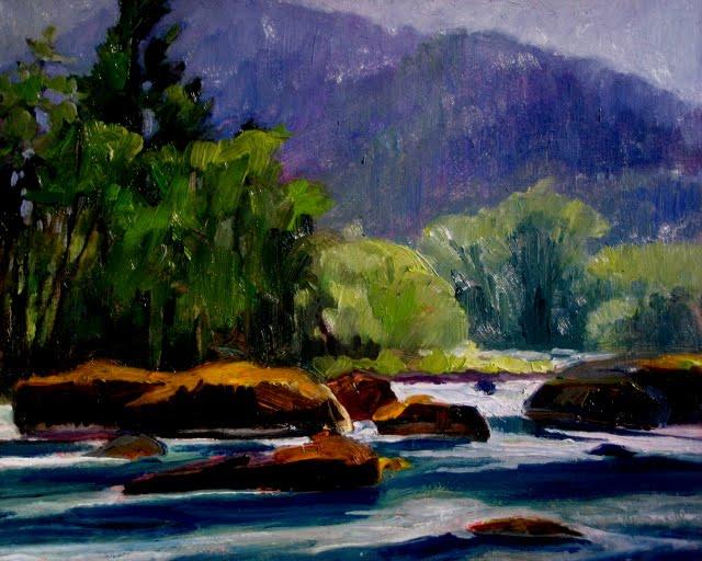 """Elwha River Valley plein air oil landscape painting"" original fine art by Robin Weiss"