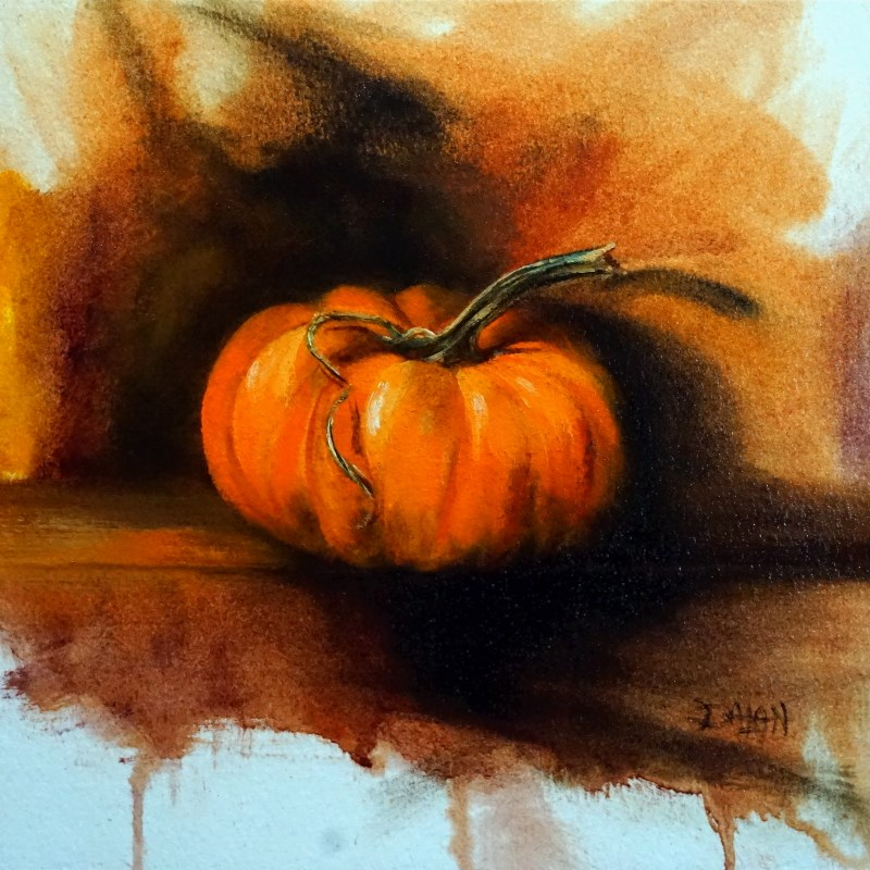 """Pumpkin Curls"" original fine art by Dalan Wells"