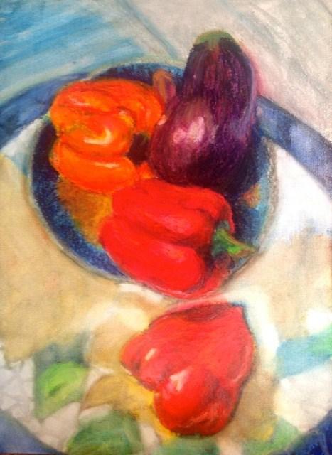 """Vegetables in Sun - tall"" original fine art by Tracy Feldman"