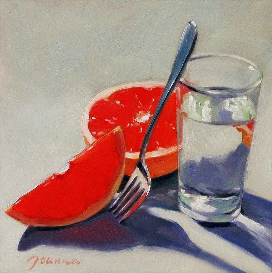 """Passion Vs. Calm-1--Still life with Grapefruit"" original fine art by Joanna Bingham"
