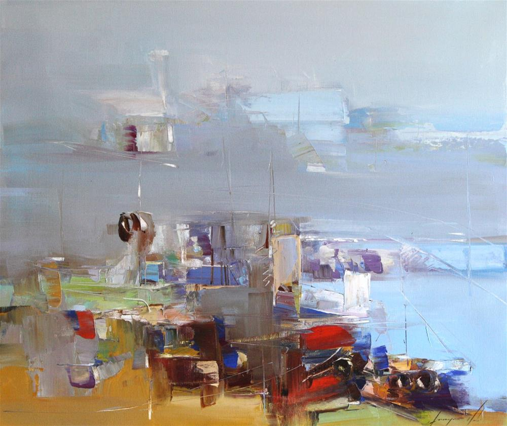 """ABSTRACT HARBOR ORIGINAL OIL PAINTING CONTEMPORARY MODERN ART"" original fine art by V Y"