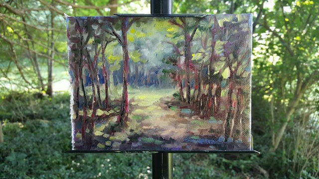 """""""Light in the Woods"""" original fine art by Tammie Dickerson"""