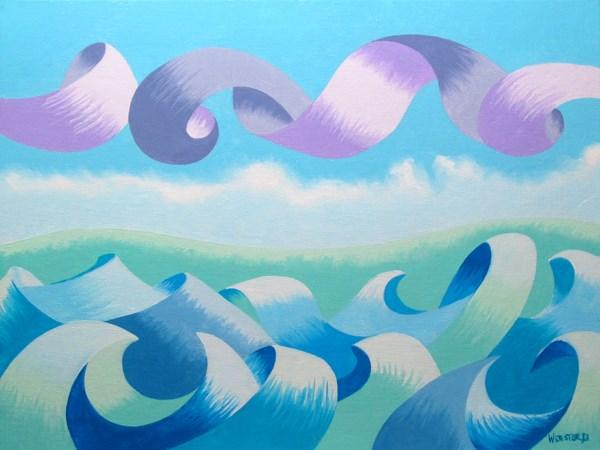 """Mark Webster - Abstract Geometric Ocean Seascape Oil Painting 2013-02-20"" original fine art by Mark Webster"