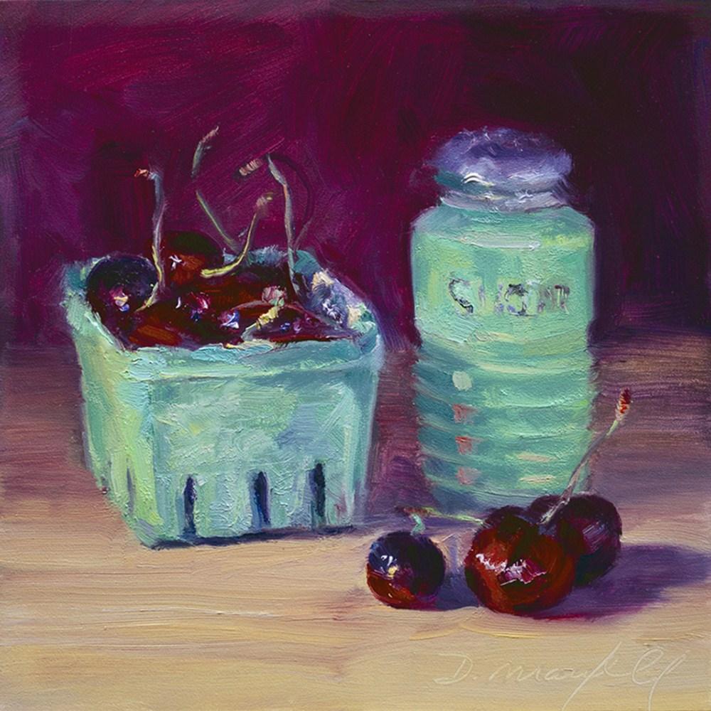 """Cherries & Depression Glass Sugar Shaker"" original fine art by Denise Maxwell"