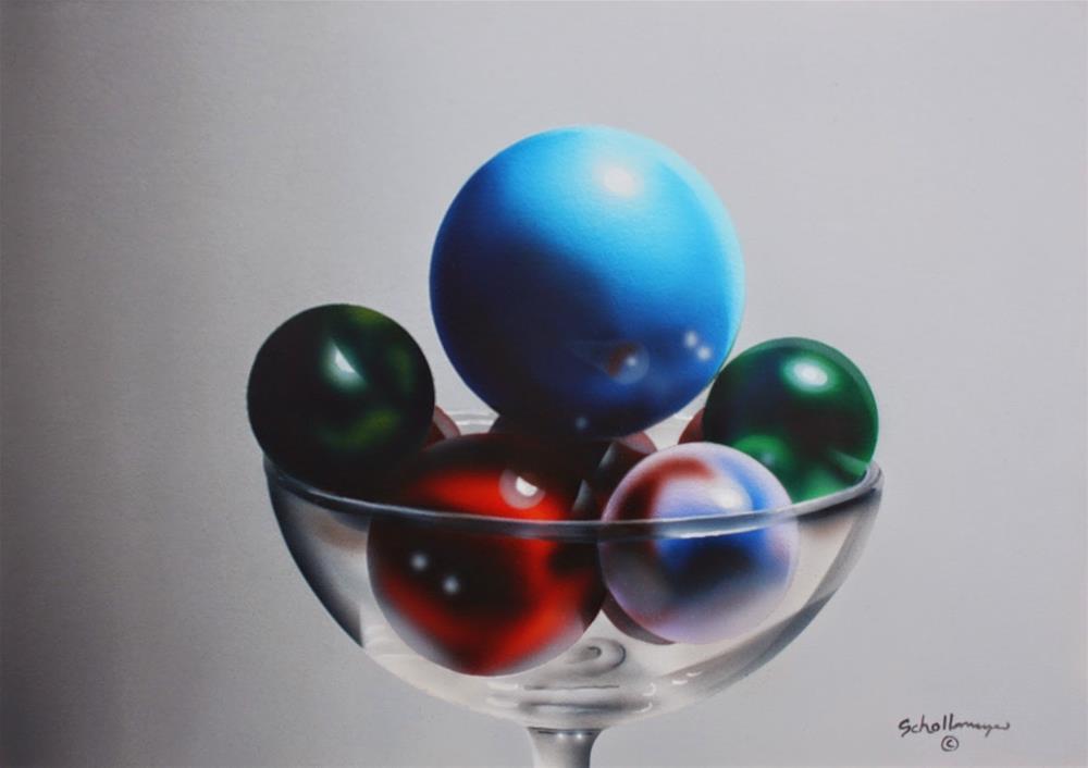 """Marbles in Wine Glass"" original fine art by Fred Schollmeyer"