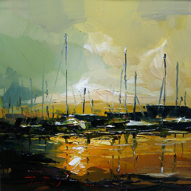 """in the Harbour"" original fine art by Jurij Frey"