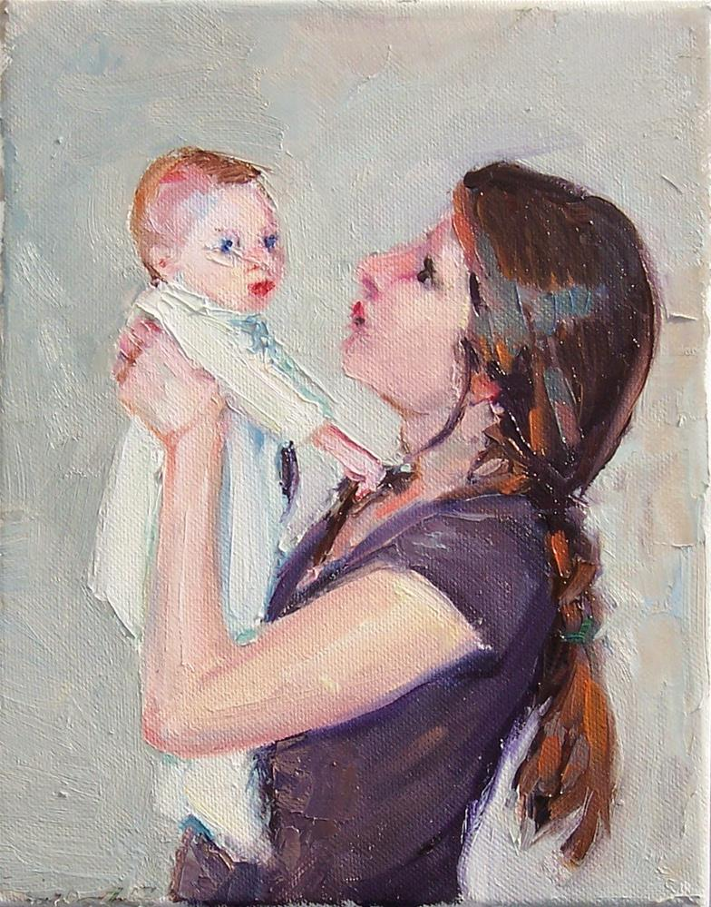 """""""Baby and Mom,figures,oil on canvas,10x8,price$350"""" original fine art by Joy Olney"""