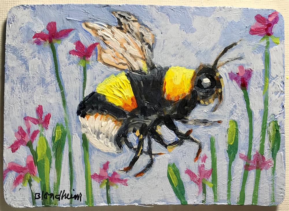 """Bumbling Along"" original fine art by Linda Blondheim"