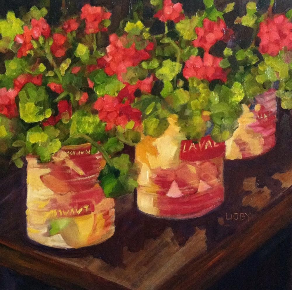 """""""Tomato cans and Geraniums"""" original fine art by Libby Anderson"""