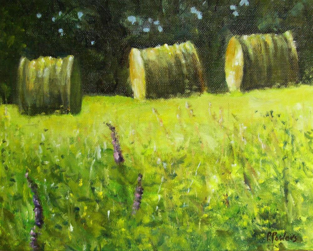 """Ferry Road Haystacks"" original fine art by Patricia J. Powers"