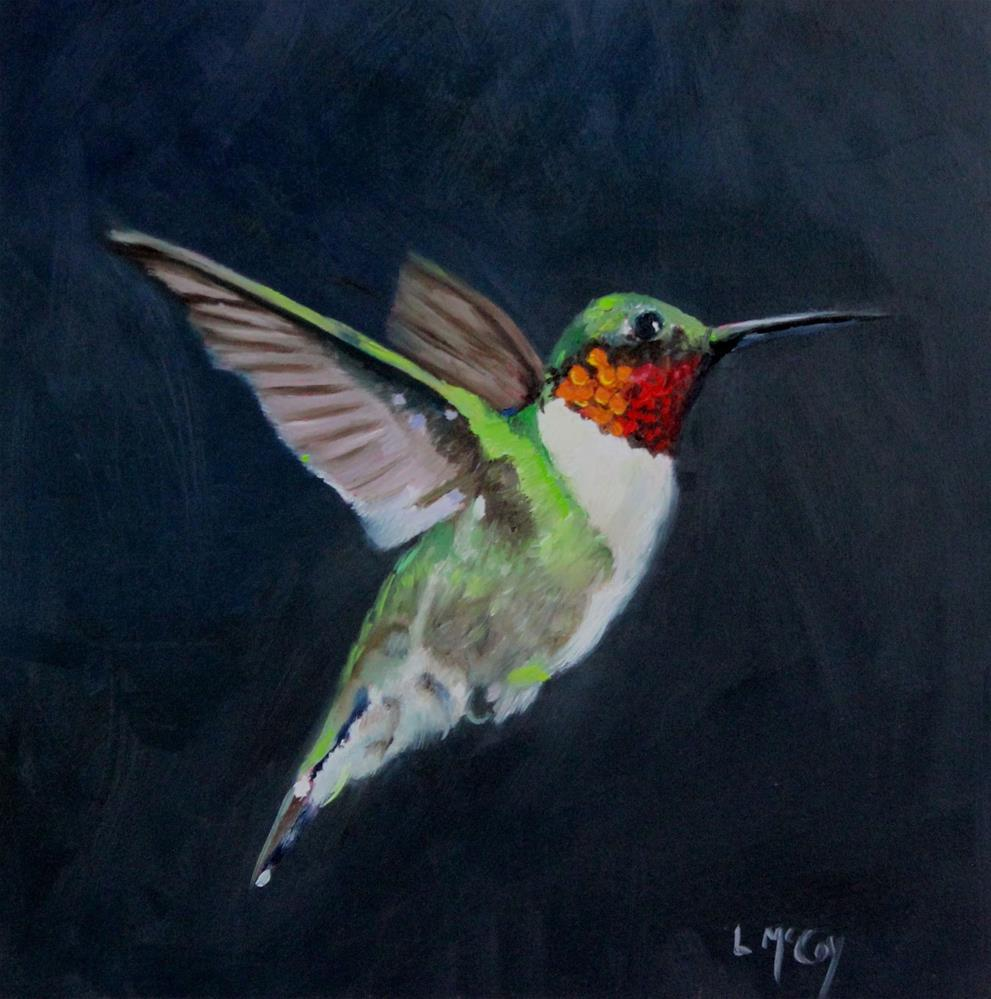 """Rojo, Hummingbird Painting, Linda McCoy"" original fine art by Linda McCoy"