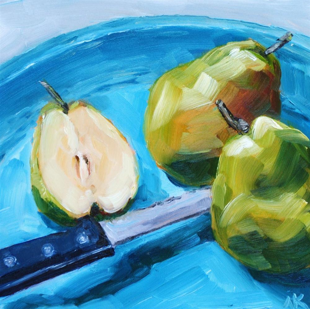 """Cut Pear"" original fine art by Alison Kolkebeck"