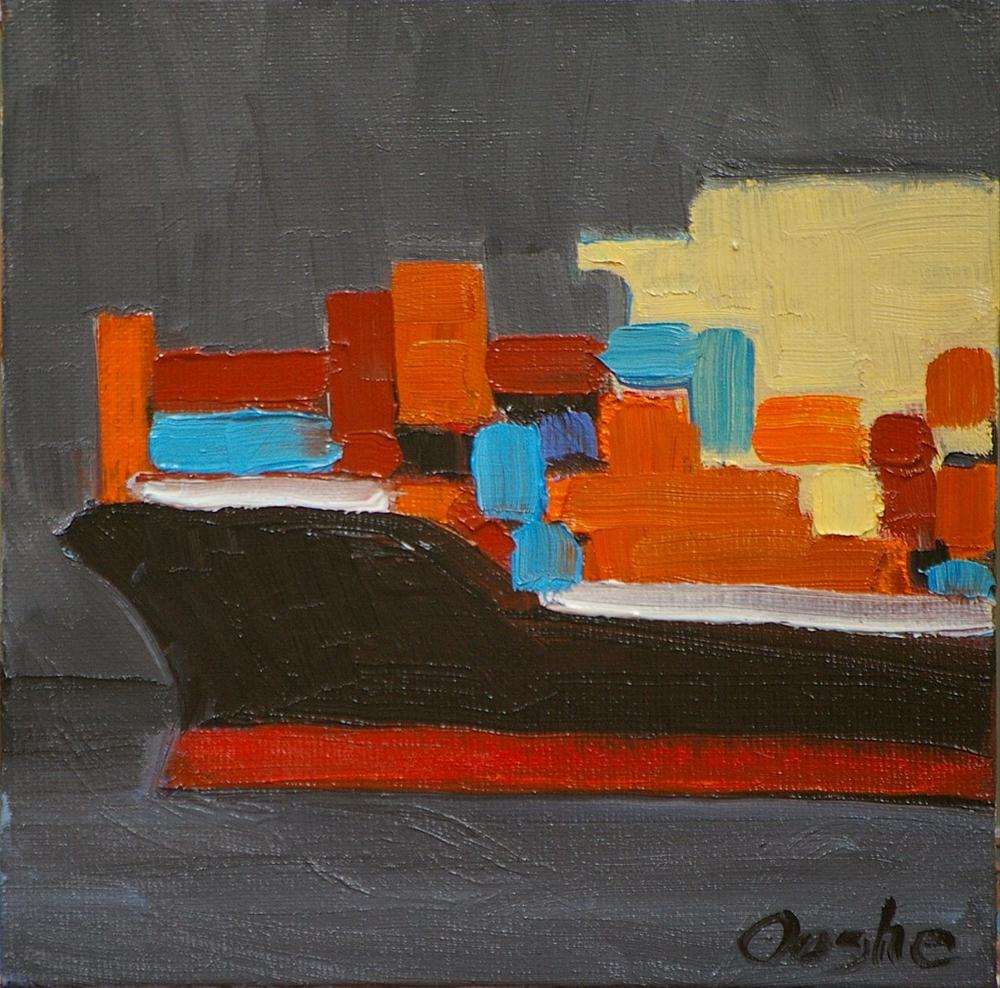 """""""Container Ship 2"""" original fine art by Angela Ooghe"""