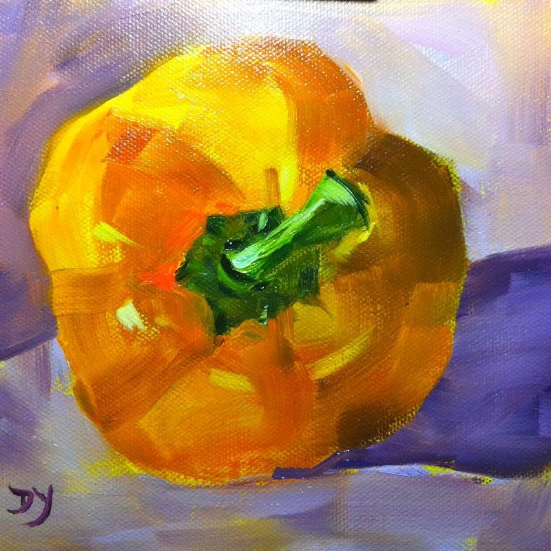 """""""Yellow Pepper, oil on canvas, 6x6"""" original fine art by Darlene Young"""