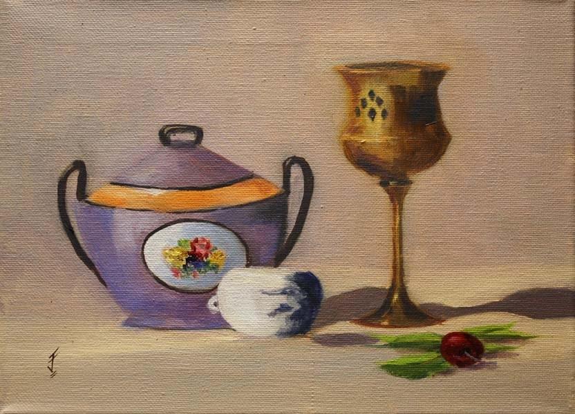 """Brass Cup and Sugar Bowl"" original fine art by Jane Frederick"