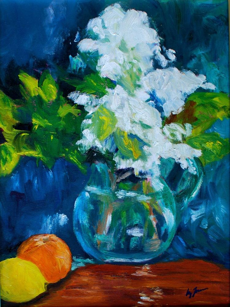 """White Summer Flowers"" original fine art by Liz Zornes"