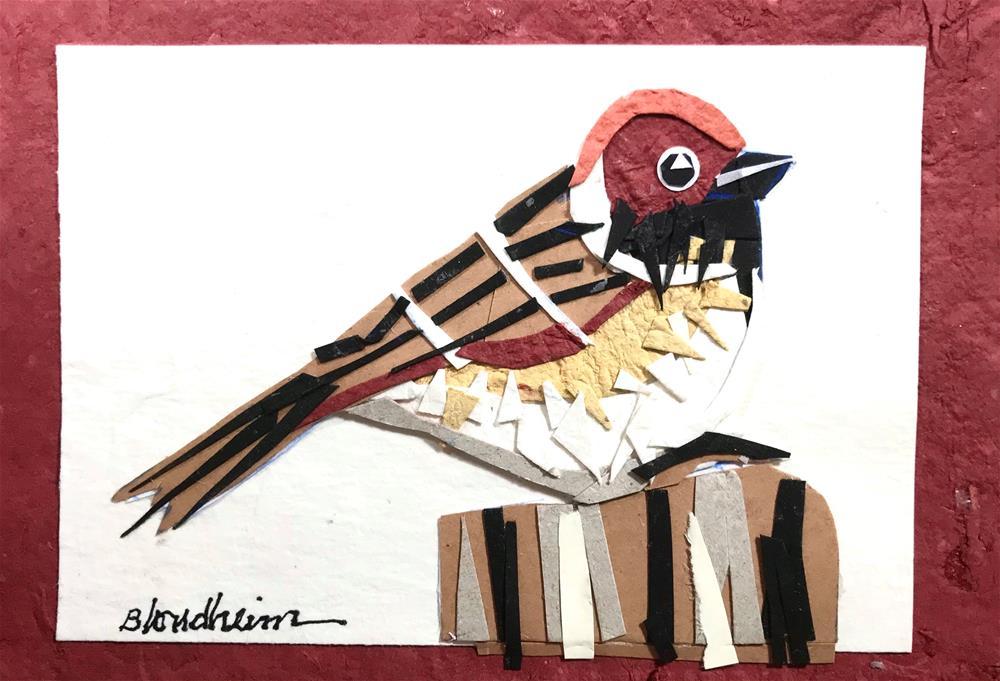 """""""Sparrow Collage"""" original fine art by Linda Blondheim"""