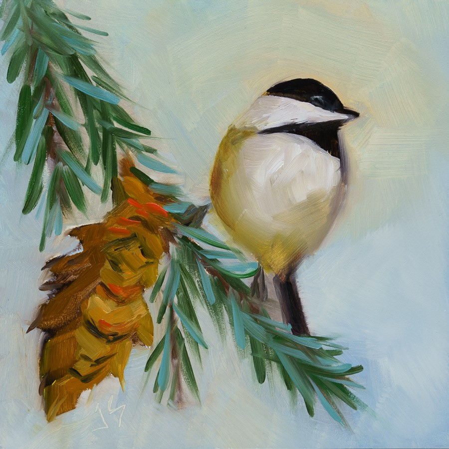 """Chickadee in Winter"" original fine art by Johnna Schelling"