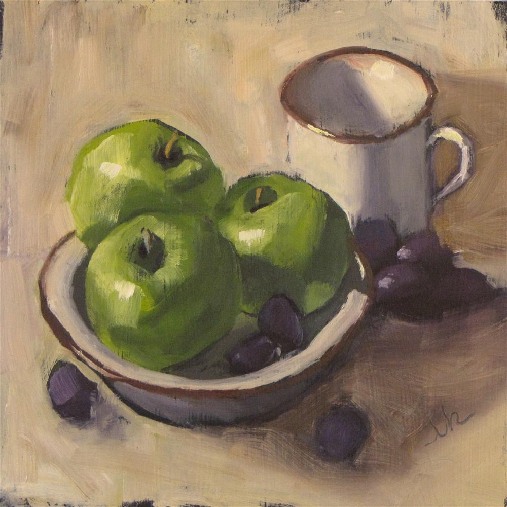 """Apples in Saucer"" original fine art by Louise Kubista"